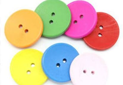Picture of Coloured Wooden Buttons Various Designs Pk14