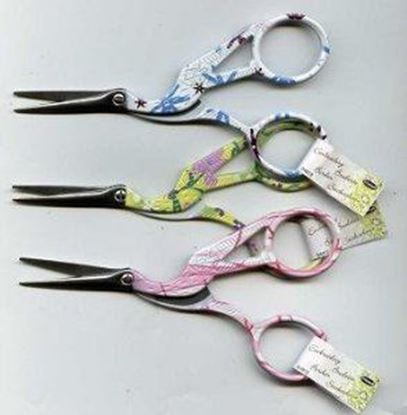 Picture of Floral Stork Embroidery Scissors 4.5""