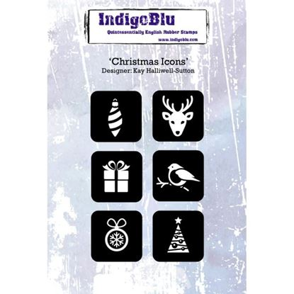 Picture of Indigoblu A6 Rubber Stamp Christmas Icons Designed by Kay Halliwell-Sutton