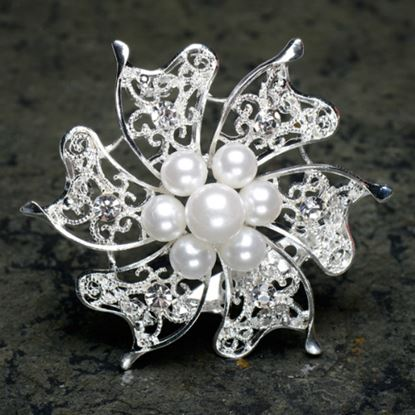 Picture of Silver Brooch with Pearls & Diamante