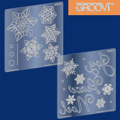 Picture of Snowflake Christmas Groovi A5 Square Set