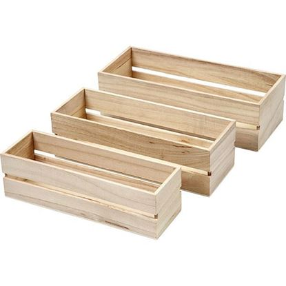 Wooden Storage Boxes Open Sided