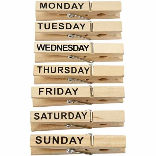 Picture of Wooden Days of the Week Pegs