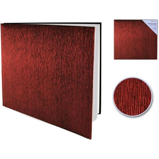 "Picture of 12"" x 12"" Scrapbook Album Shimmer Fabric Burgundy"
