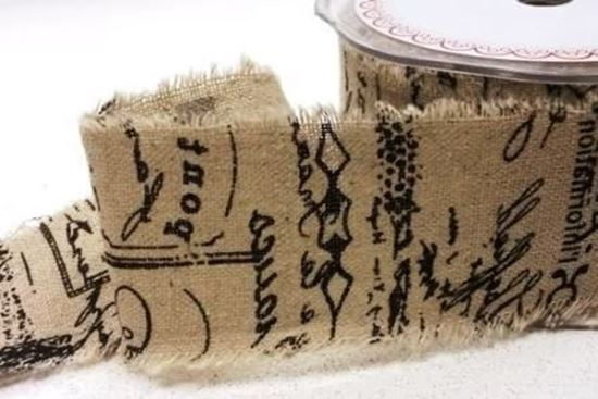 Picture of Script Printed Burlap 50mm