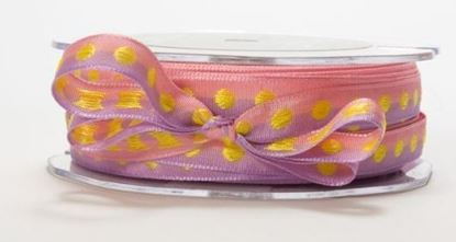 "Picture of Woven ribbon 3/8""  Wide Pink/Yellow"