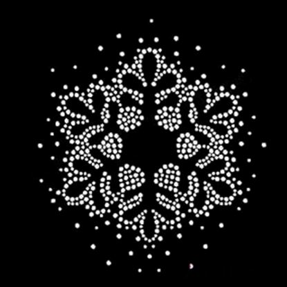 Picture of Rhinestone Iron On Snowflake Motif / Transfer 75mm