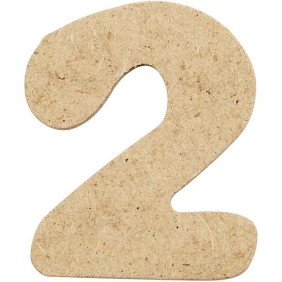 Picture of MDF Small Wooden Number 2.