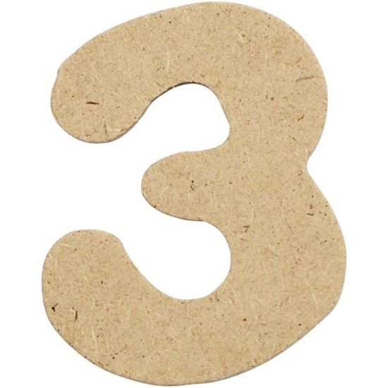 Picture of MDF Small Wooden Number 3.