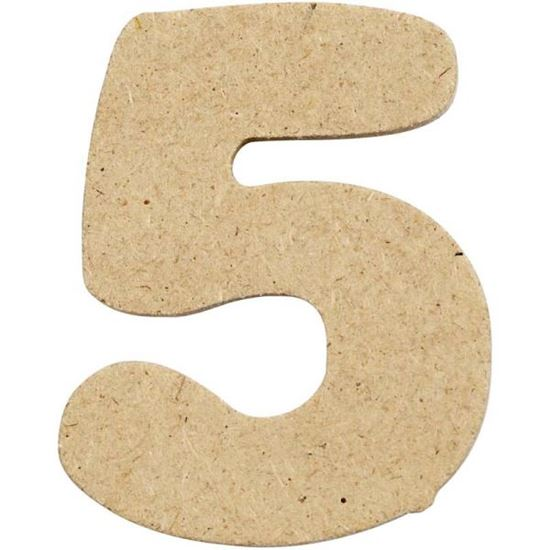 Picture of MDF Small Wooden Number 5.