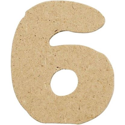 Picture of MDF Small Wooden Number 6.