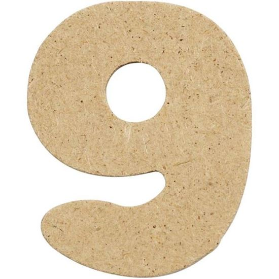 Picture of MDF Small Wooden Number 9.