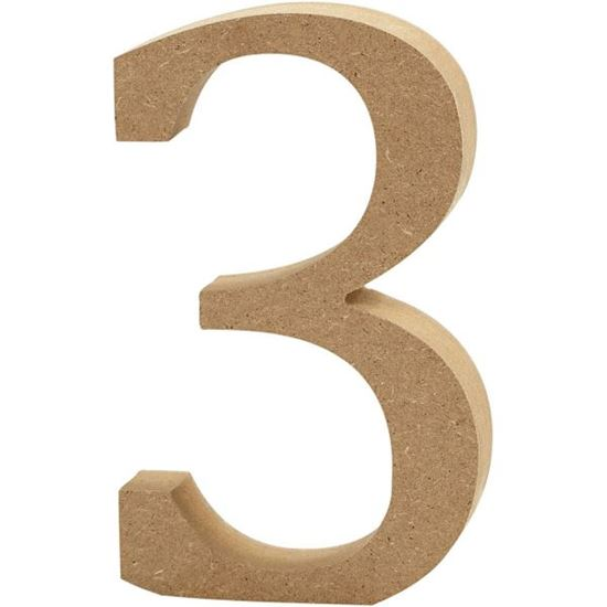 Picture of MDF Wooden Number 3 (8cm)