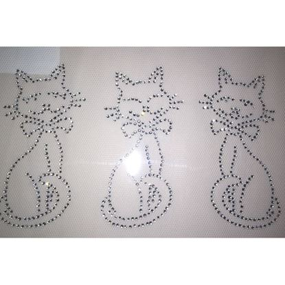 Picture of Rhinestone / Diamante Iron On Three Lovely Cats