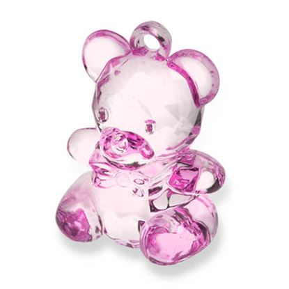 Picture of Acrylic Teddy Bear H: 4.5cm Pink