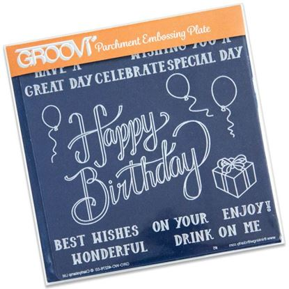 Picture of Happy Birthday  Groovi Plate A5 Square