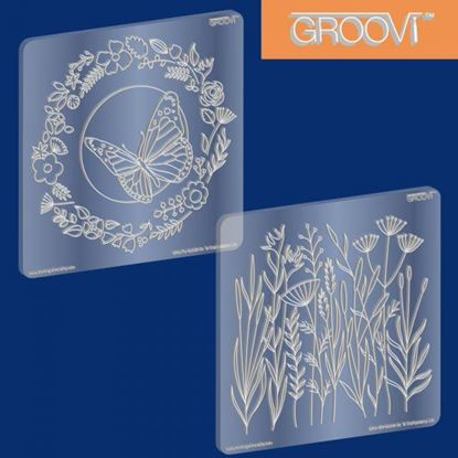 Picture of Groovi Plate Set Butterfly Wreath & Meadow Grass