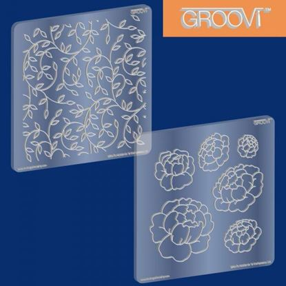 Picture of Groovi Plates Set Blooming Peonies/Sprig Pattern