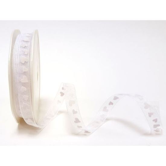 Picture of White Sheer With White Heart Print 10mm