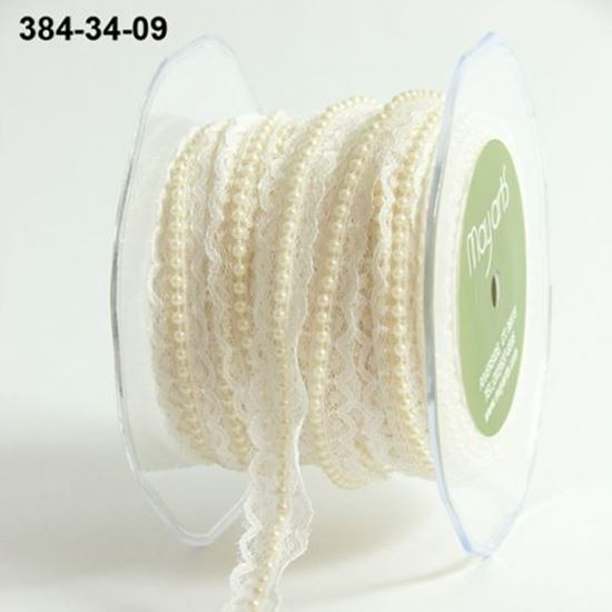 Picture of Lace & Pearl Trim Ivory 3/4""