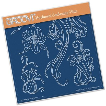 Picture of Jayne's Trumpet Lillies Groovi Plate A5 Square