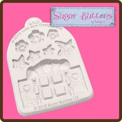 Picture of Katy Sue Sugar Buttons Mould - Enchanted Window and Flowers