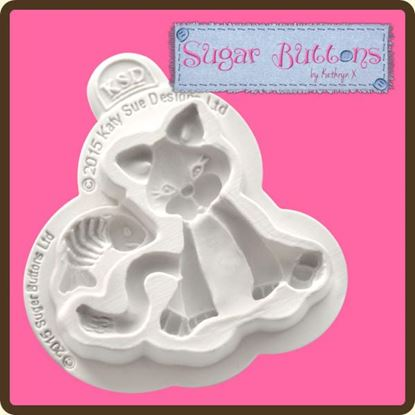 Picture of Katy Sue Sugar Button Moulds - Cat