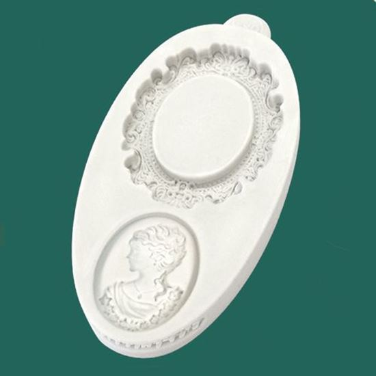 Picture of Katy Sue Embellishment Mould - Miniature Frame Oval Cameo & Oval Frame 1