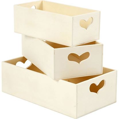 Wooden Storage Box with Heart Cutout