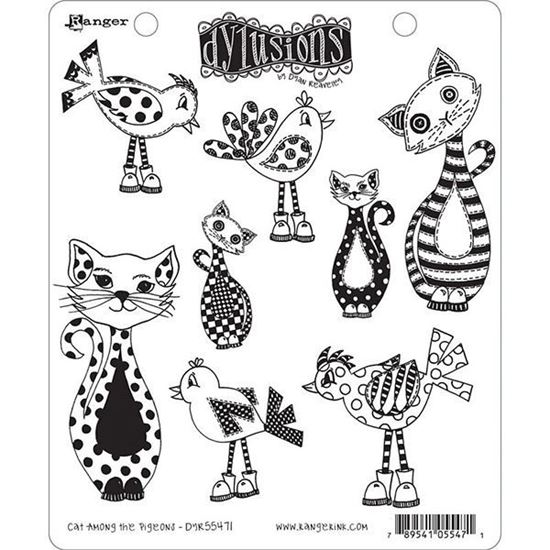 Dylusions Rubber Stamps - Cat amongst the Pigeons