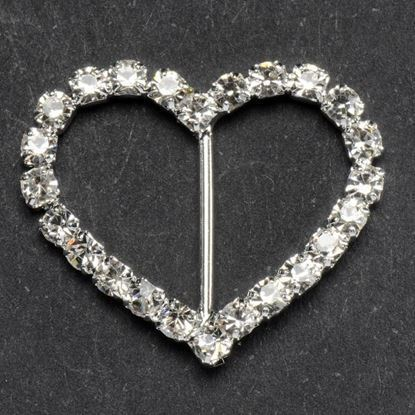 Diamante Heart Ribbon Buckle 2.0 x 2.0cm