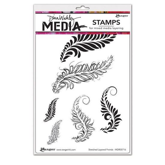 Dina Wakley Stamps Sketched Layered Fronds