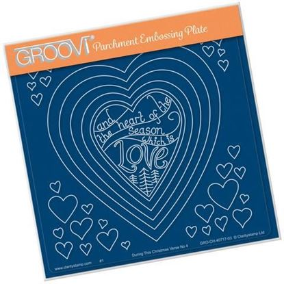 Nested Hearts & Christmas Verse - Groovi A5 Square Plate