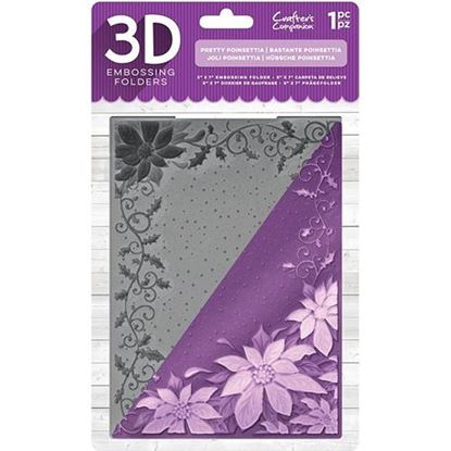 Crafters Companion 3D Embossing Folder - Pretty Poinsettia