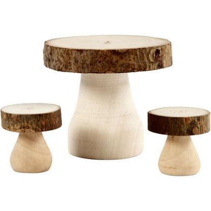 Wooden Mushroom Table & Stool