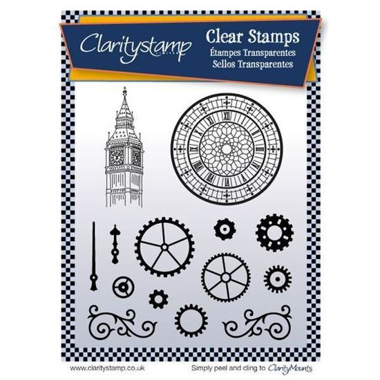 Clarity Unmounted Clear Stamp Set - Cogs & Clocks
