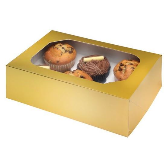 6 Piece Muffin/Cupcake Box - Gold