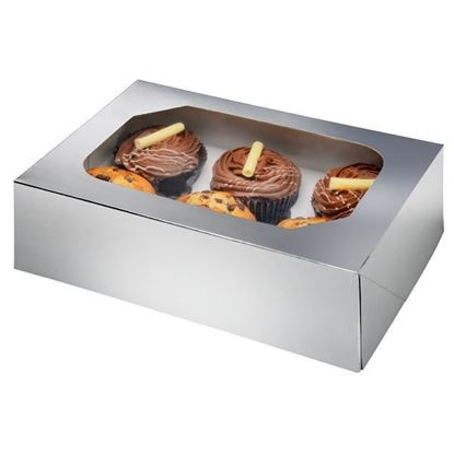 6 Piece Muffin/Cupcake Box - Silver