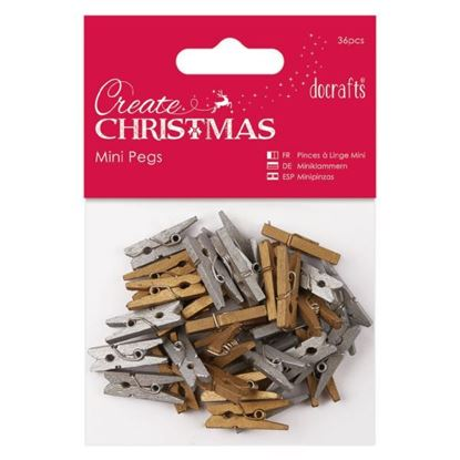 Wooden Mini Pegs Gold/Silver