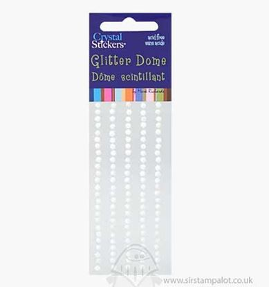 White Glitter Self Adhesive Flat Backed Domes