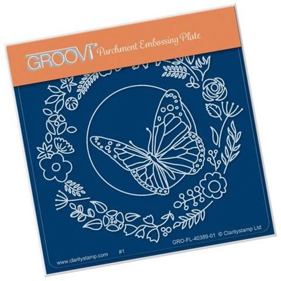 Butterfly Wreath Groovi A6 Square Plate