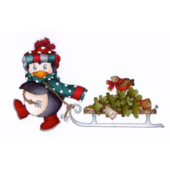 Daisy Mae Stamp - Penguin Tree Delivery