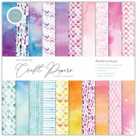 "Craft Consortium Essential Craft Paper 12"" x 12"" - Watercolours"