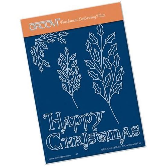 Groovi A6 Groovi Plate - Holly Branch with Happy Christmas
