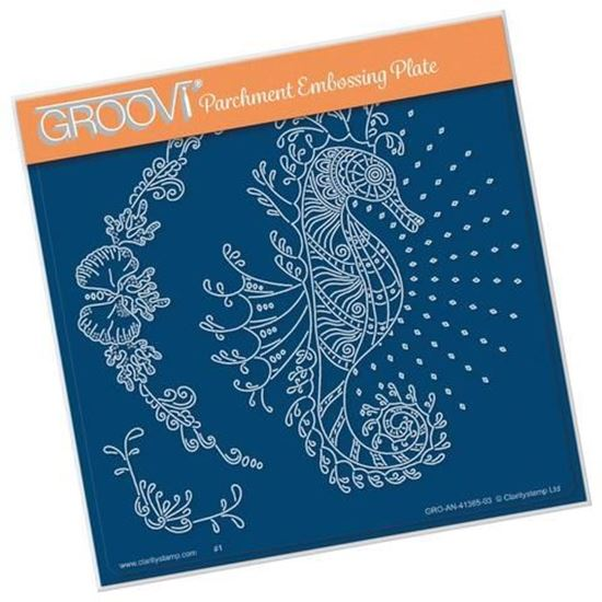 Cherry Green's Seahorse & Coral  A5 Square Groovi Plate