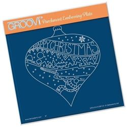 Happy Christmas Bauble A5 Square Groovi Plate