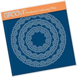 Nested Lace Fan Border A5 Square Groovi Plate