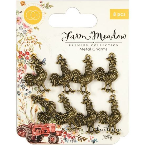 Craft Consortium Farm Meadow - Metal Rooster Charms